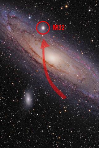 Trayectoria de choque de M32 en M31